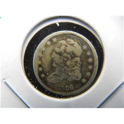 1836 Bust Half Dime.  Fine Details.  Damaged.