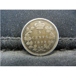 1893 Canada 5c Silver.  VF+.