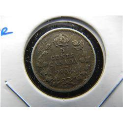 1904 Canada 5c Silver.  XF.