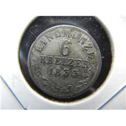 1833 Germany 6 Kreuzer.  Silver.