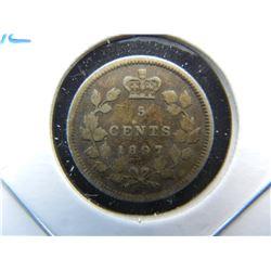 1897 Canada 5c Silver.  XF.