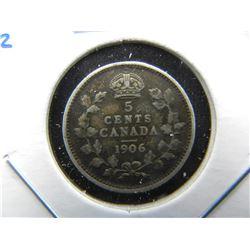 1906 Canada 5c Silver.  XF.