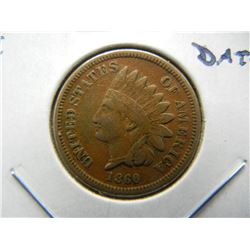1860 Indian 1c.  VF.  Better Date.