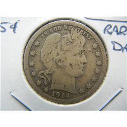 1914-S Barber 25c.  Fine Details.  Rare Date.  Damaged.