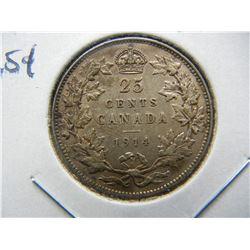 1914 Canada 25c.  AU.  Rare.