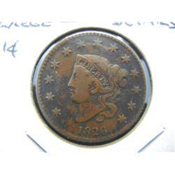 1826 Large 1c.  VF+ Details.