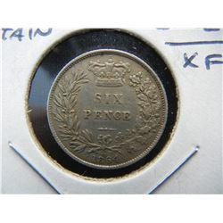 1864 Great Britain  Silver 6 Pence.  XF.  Rare.