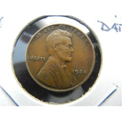 1924-D Lincoln 1c.  VF+.  Key Date.