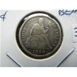 1890-S Seated 10c.  Fine Details.  Bent.