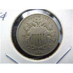 1869 Shield 5c.  VF.