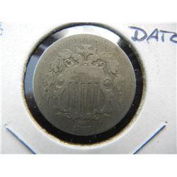 1875 Shield 5c.  Fine.  Better Date.