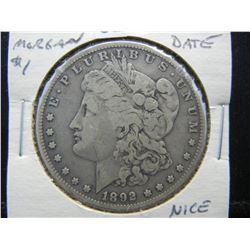 1892-S Morgan $1.  Rare Date.  Nice Coin.