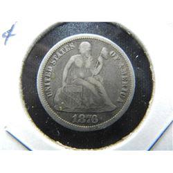 1876-CC Seated 10c.  Fine+.