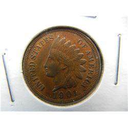 1901 Indian 1c.  XF+/AU.