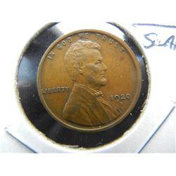 1920-D Lincoln 1c.  Choice Brown AU.  Scarce.