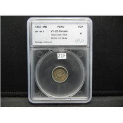 1850-MB Peru 1/2 Real.  SEGS VF-20 Details.