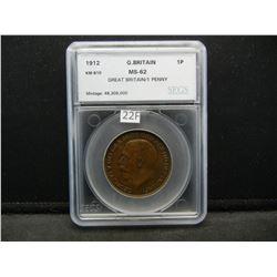 1912 Great Britain 1 Penny.  SEGS MS-62.