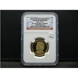 2011-S Seventeenth President Andrew Johnson $1.  NGC PF 69 ULTRA CAMEO.