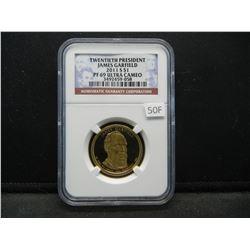 2011-S Twentieth President James Garfield $1.  NGC PF 69 ULTRA CAMEO.