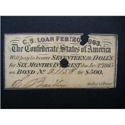 1865 Confederate States $17 Bond Coupon.  Rare.