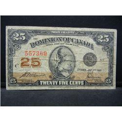 1923 Canada 25c Note.  Fine.