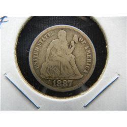 1887-S Seated 10c.  Fine+.