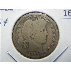 1903-S Barber 25c.  Good+.  Scarce Date.