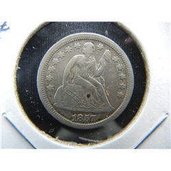 1857 Seated 10c.  VF/XF.