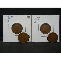 4 Semi-Key Lincoln 1c.  1915-D, 1916-D, 1917-D, and 1918-D.