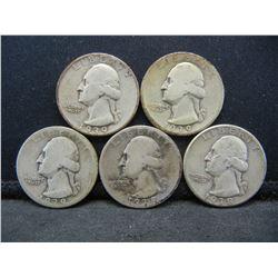 1938, 1938-S, 1939, 1939-D, and 1939-S Washington 25c.