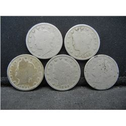 5 Better Date V Nickels.  1889, 1891, 1892, 1893, and 1894.