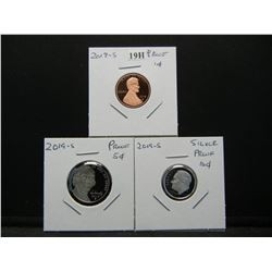 2019-S Proofs.  1c, 5c, and Silver 10c.  Gem.