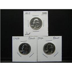 1953, 1956, and 1957 Proof Silver Washington 25c.