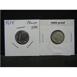 1954 and 1955 Proof Silver 10c.
