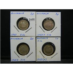 4 Australia Silver 3 Pence.  Nice Grades.