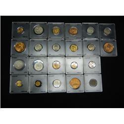 22 Mexico Coins.  All UNC.