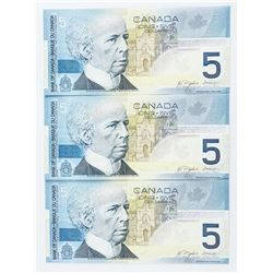 2002 - $5 Bill - Jenkins & Dodge [3 Notes in Sequence] Serial Numbers : HOR6356664 - HOR6356666 [Iss