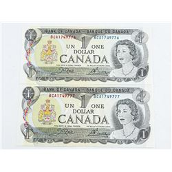 1973 - $1 Bills - Crow & Bouey - Serial Number : BCA1749776 & BCA1749777[Two Notes in Sequence] UNC