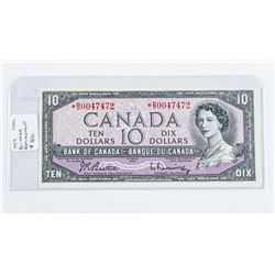 1954 - $10 Bill - Beattie & Rasminsky - Serial Number : * BD0047472[Modified][ASTERISK - REPLACEMENT