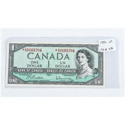 1954 - $1 Bill - Beattie & Rasminsky - Serial Number : *SO0103704Printer : CBN[Modified] [* Replacem