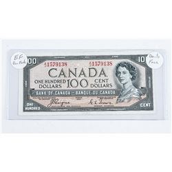 1954 - $100 Bill - Coyne & Towers - Serial Number : AJ 1579138[Devil's Face] EF-40 (with pen mark)