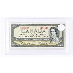 1954 - $20 Bill - Beattie & Coyne - Serial Number : DE 3484549[DEVIL FACE] [In Hard Plastic Case] Fi
