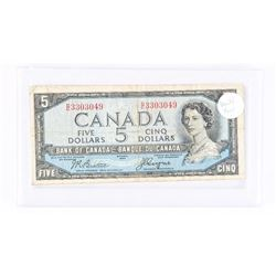 1954 - $5 Bill - Beattie & Coyne - Serial Number : DC3303049[DEVIL FACE] [In Hard Plastic Case] VERY