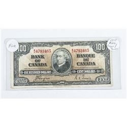 1937 - $100 Bill - Coyne & Towers - Serial Number : BJ4793465 F-12
