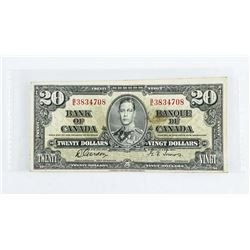 1937 - $20 Bill - Gordon & Towers - Serial Number : BE 3834708. VF+