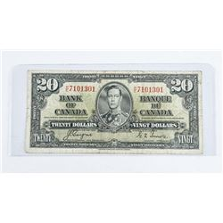 1937 - $20 Bill - Coyne & Towers - Serial Number : HE7101301[H/E Prefix] VG