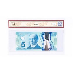 "2013 - $5 Bill - Macklem & Carney - Serial Number : HBG3052995[BC-69a : Changeover Note]. ""CHOICE UN"