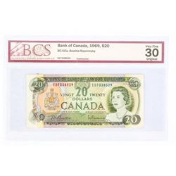 "1969 to 1975 Series Notes:1969 - $20 Bill - Beattie & Rasminsky - Serial Number : ED7338529. ""VF-30"
