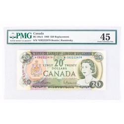 1969 to 1975 Series Notes:1969 - $20 Bill - Beattie & Rasminsky - Serial Number : *EB2222979[NOTE :