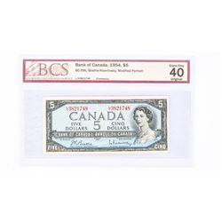 "1954 - $5 Bill - Beattie & Rasminsky - Serial Number : LX3821748[Modified]. ""Extra Fine : 40[BCS Cer"